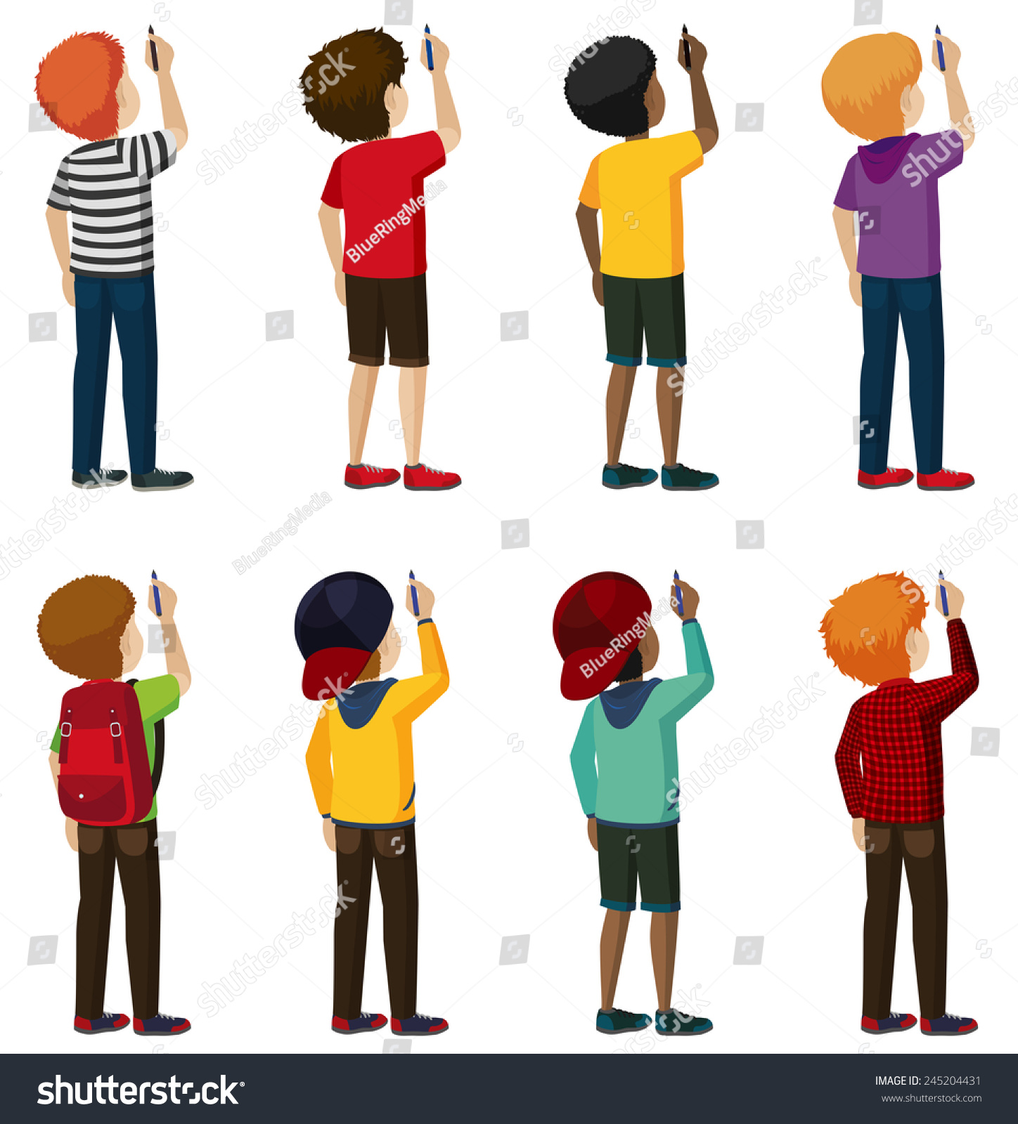group faceless kids writing on white stock vector (royalty free