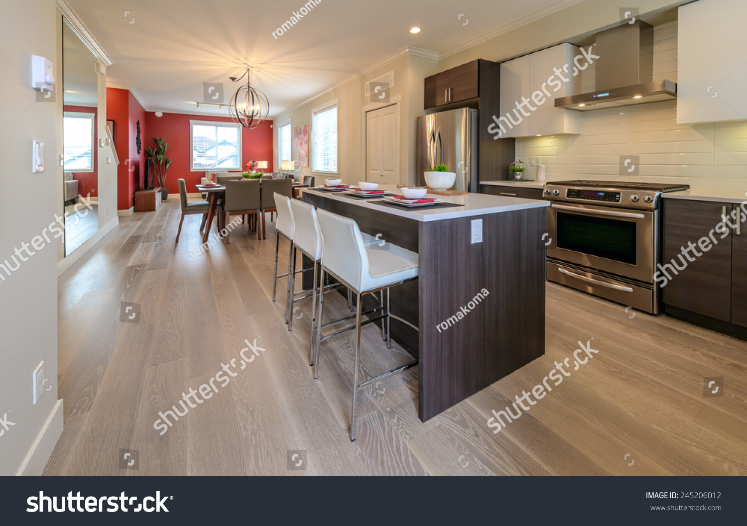 Nicely Decorated Kitchen Counter Table Iceland Stock Photo
