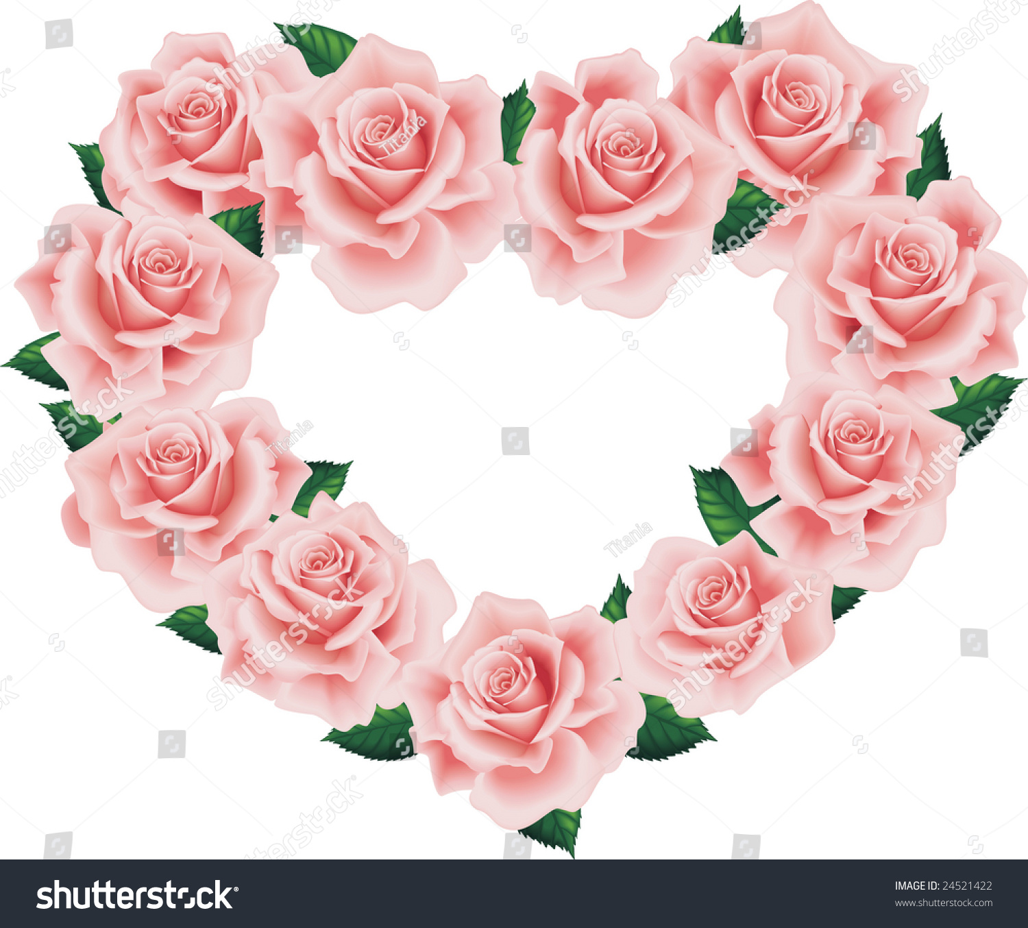 Isolated Pink Roses Heart Wiht Green Leafs Stock Photo 24521422 ... Pink Roses And Hearts