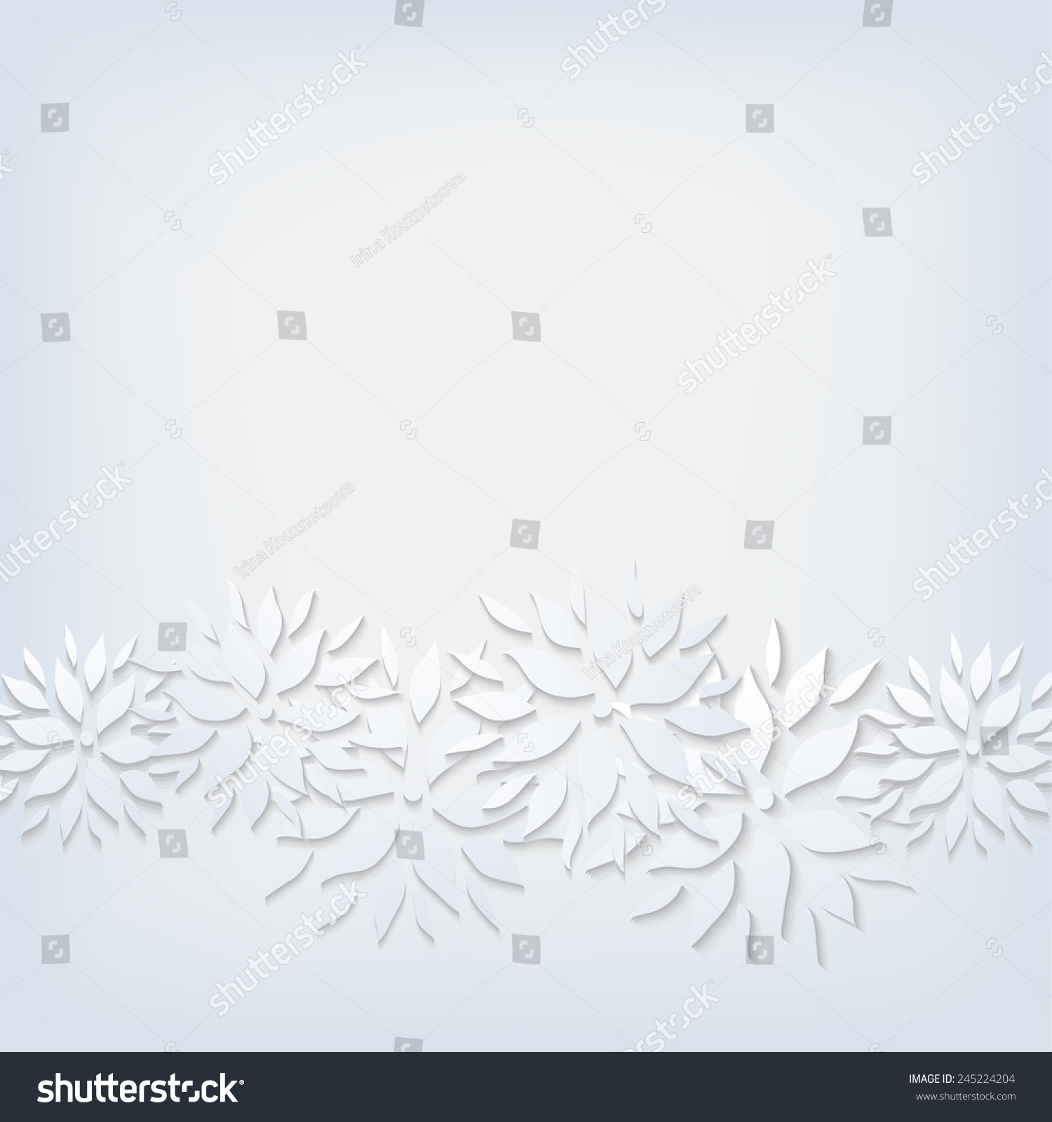 Paper Flowers On Grey Background Vector Stock Vector 245224204