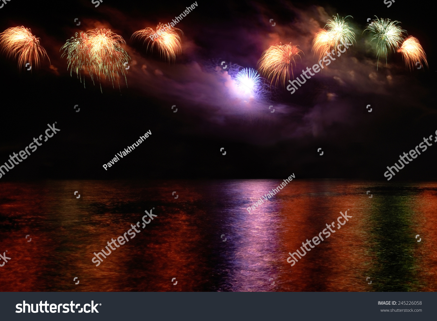 Wallpaper Salute Sky Holiday Colorful 3376x4220: Colorful Fireworks On Black Sky Background Stock Photo