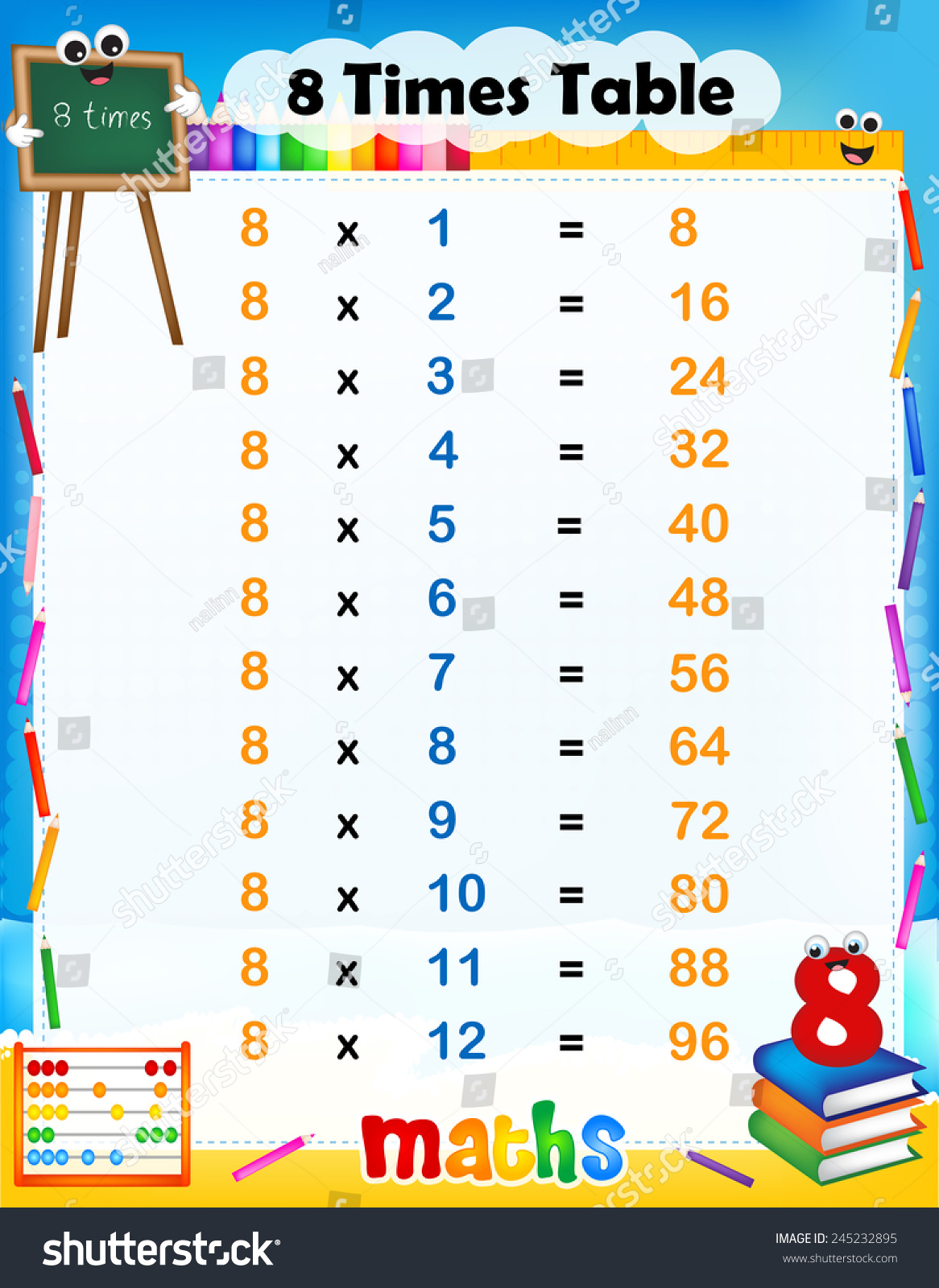 Illustration cute colorful mathematical times table stock for 10 times table song
