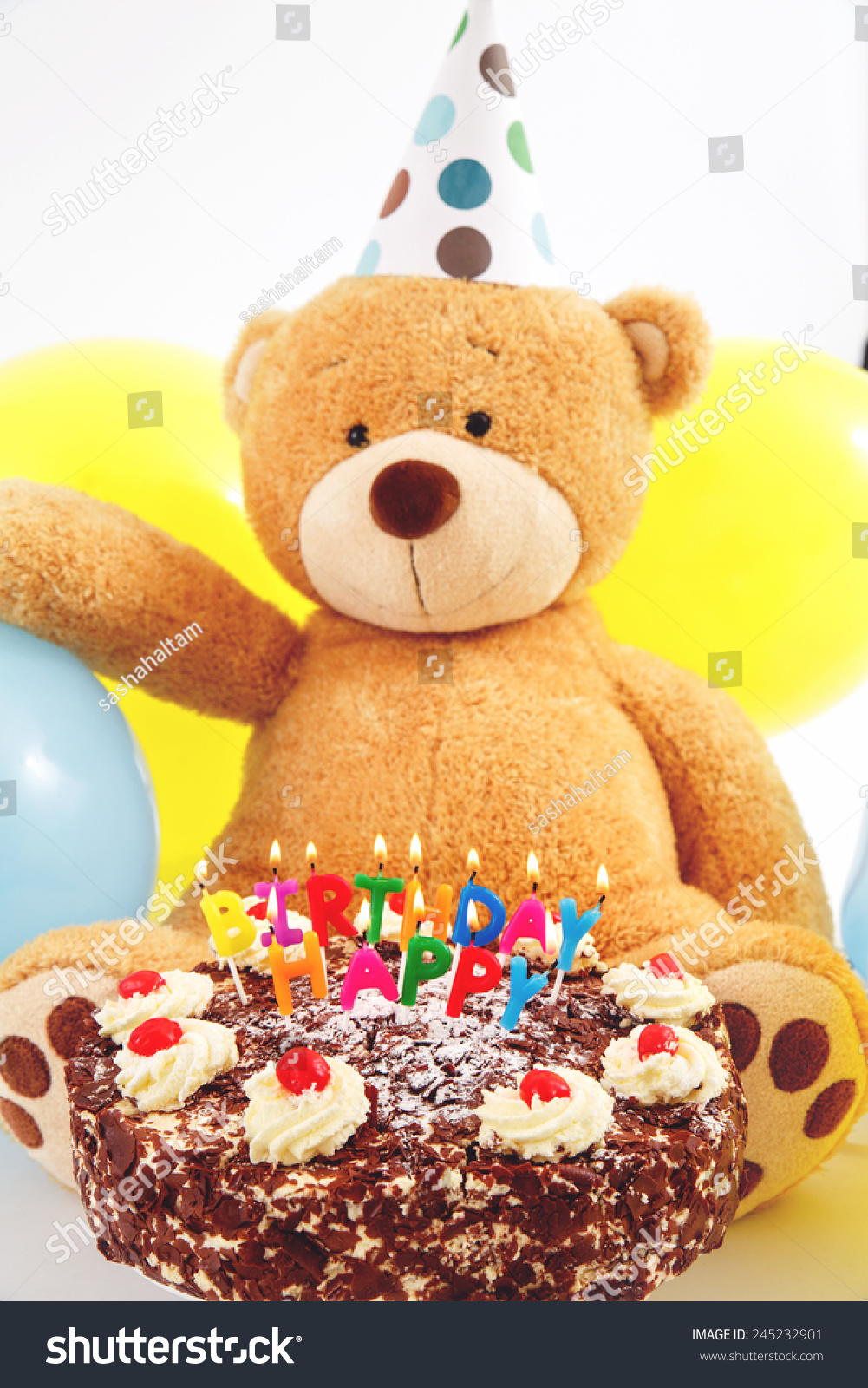 Teddy Bear With Birthday Cap Balloons And Cake Candles Greeting Card Happy Burning