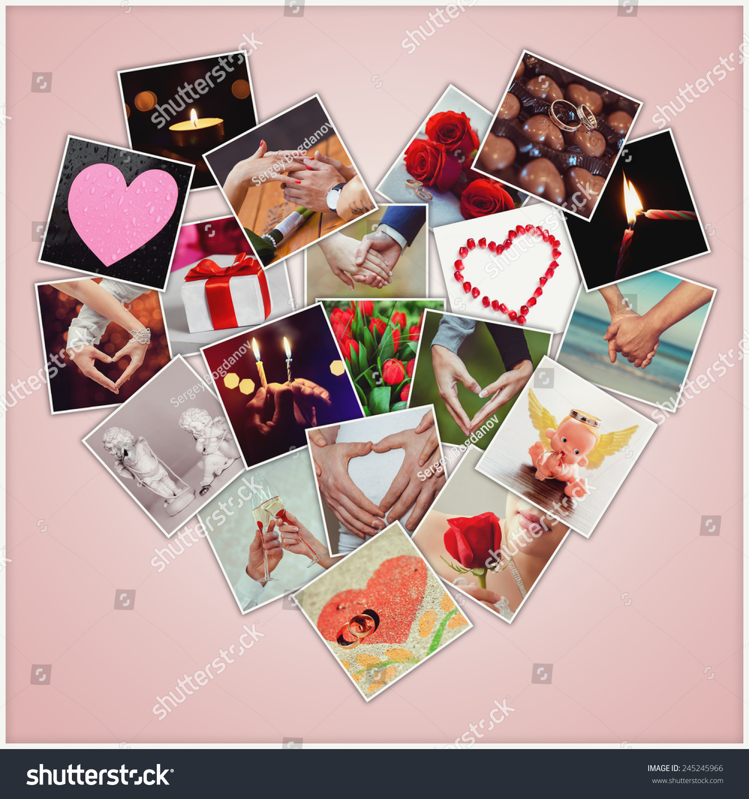 Valentine Collage Of Different Snapshots, Forming A Heart. Love Concept