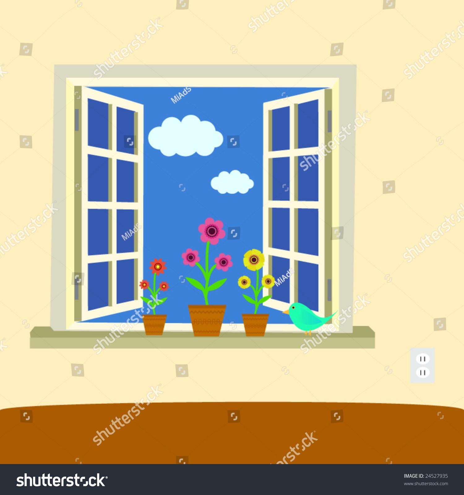 window illustration cute details stock vector 24527935 On window illustration