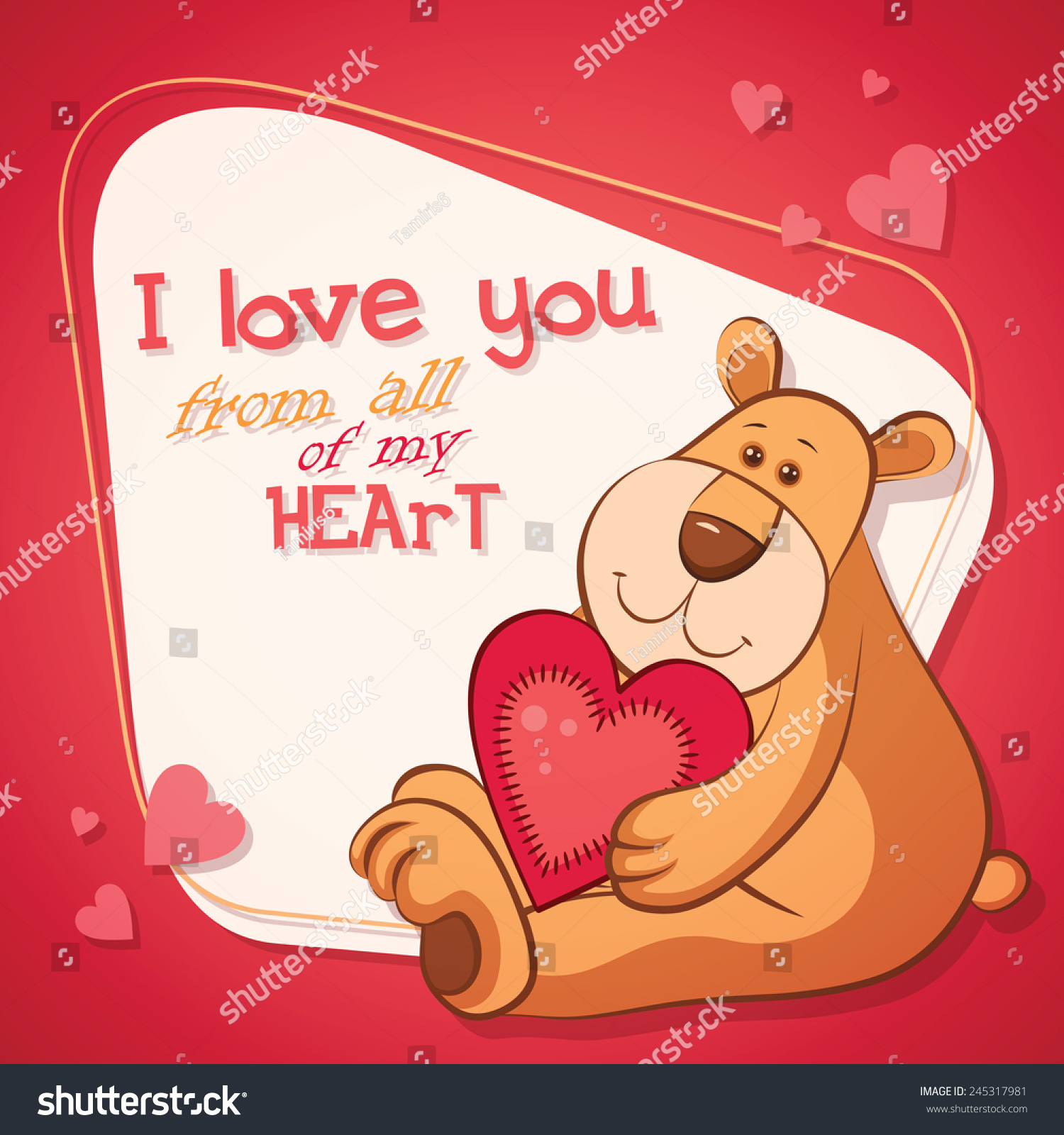 Vector Happy Valentines Day Greeting Card Vector 245317981 – Teddy Bear Valentines Day Card