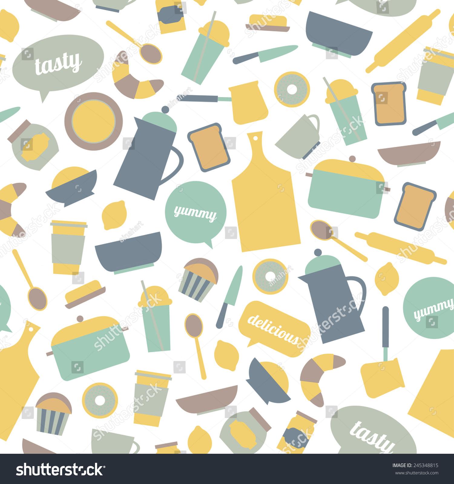 Cute Pattern Big Kitchen Icon Set Stock Photo (Photo, Vector ...