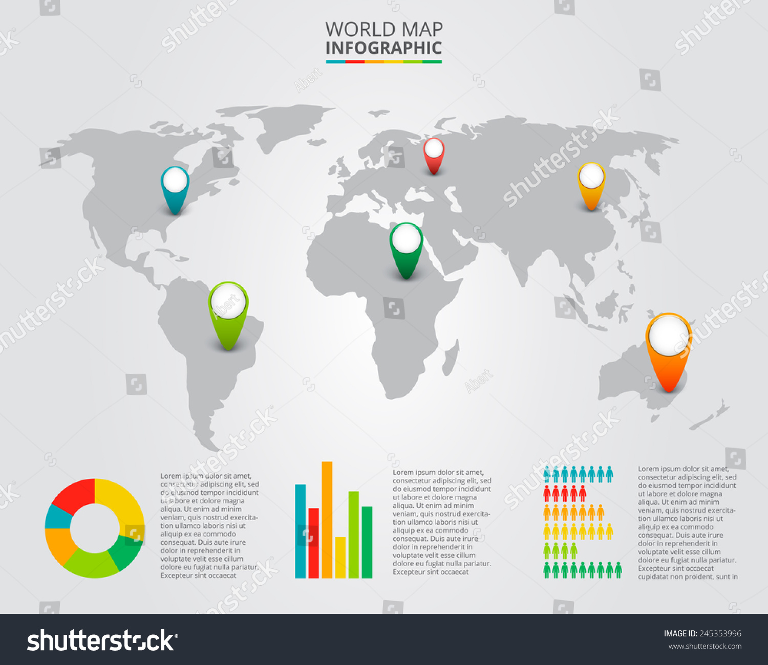 Vector world map infographic elements stock vector 245353996 vector world map with infographic elements gumiabroncs Images