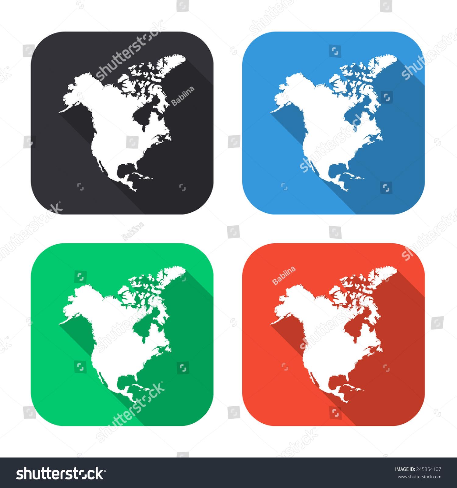 North America Map Icon Colored Illustration Stock Vector 245354107