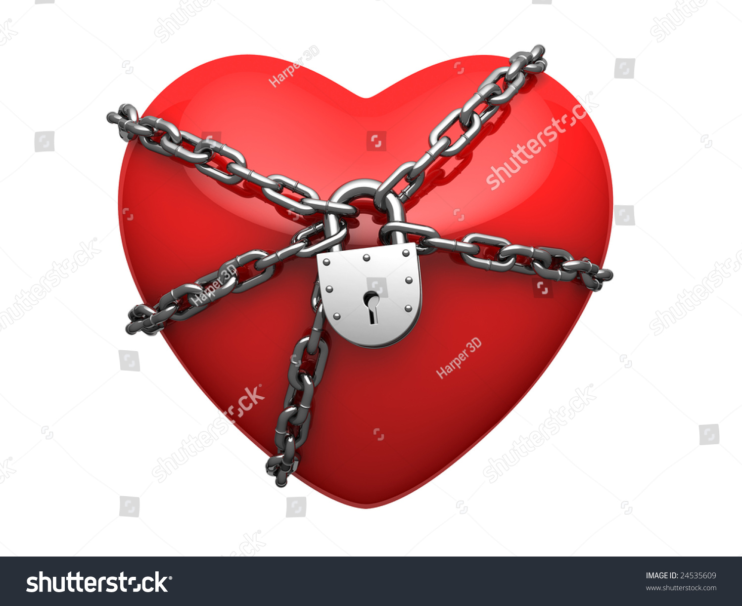 Red Heart Wound Around Chain And Locked On Lock Stock ...