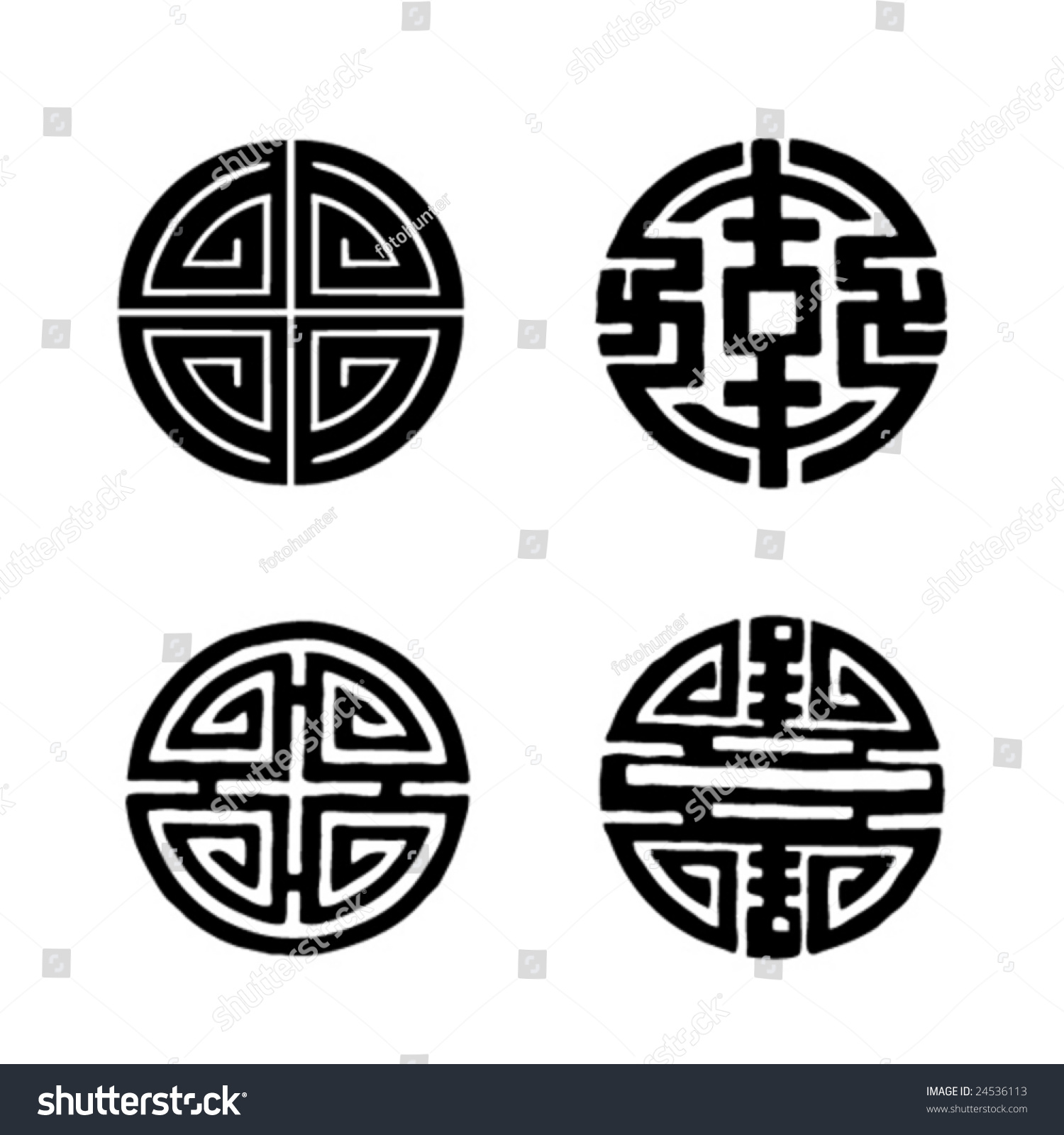 Four Chinese Longevity Symbols Stock Vector Royalty Free 24536113