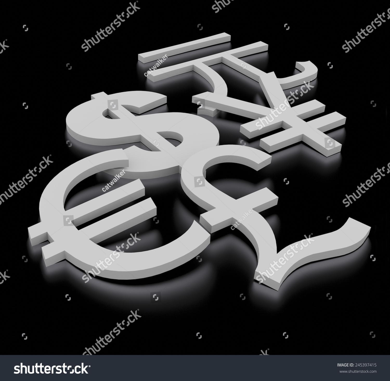 3 D Render Metal Currency Symbols Dollar Stock Illustration