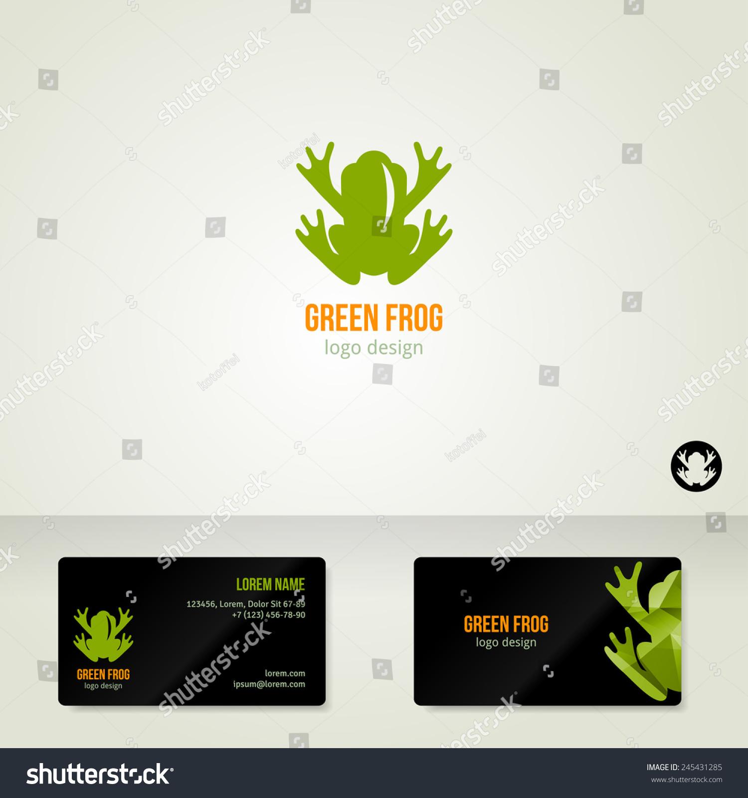 Logo Design Green Frog Vector Illustration Stock Photo (Photo ...