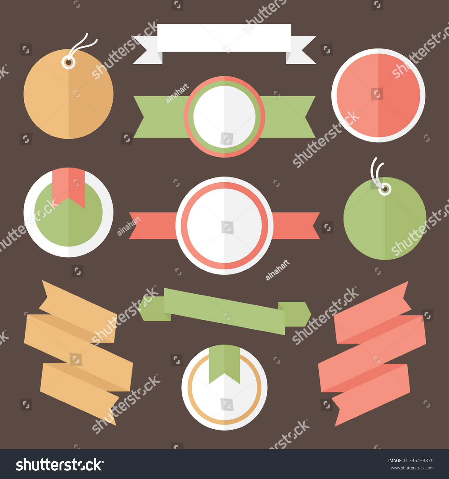 cute label collection cartoon tags ribbons stock vector royalty