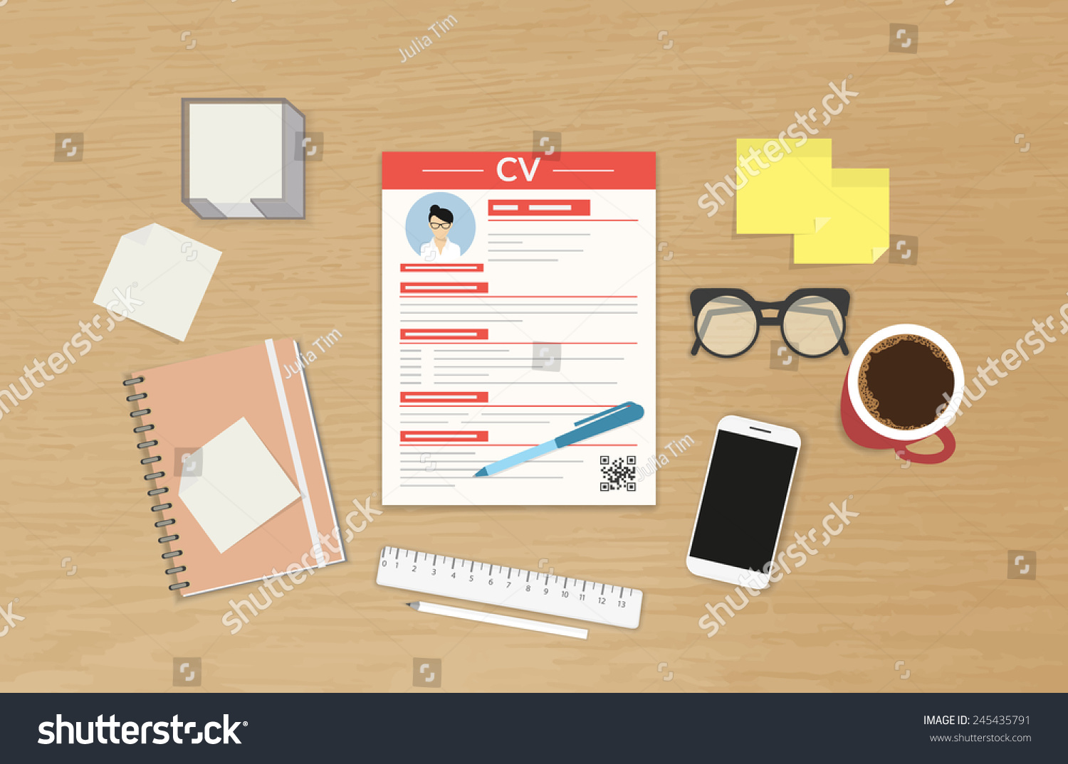 realistic desktop design cv template vector stock vector 245435791