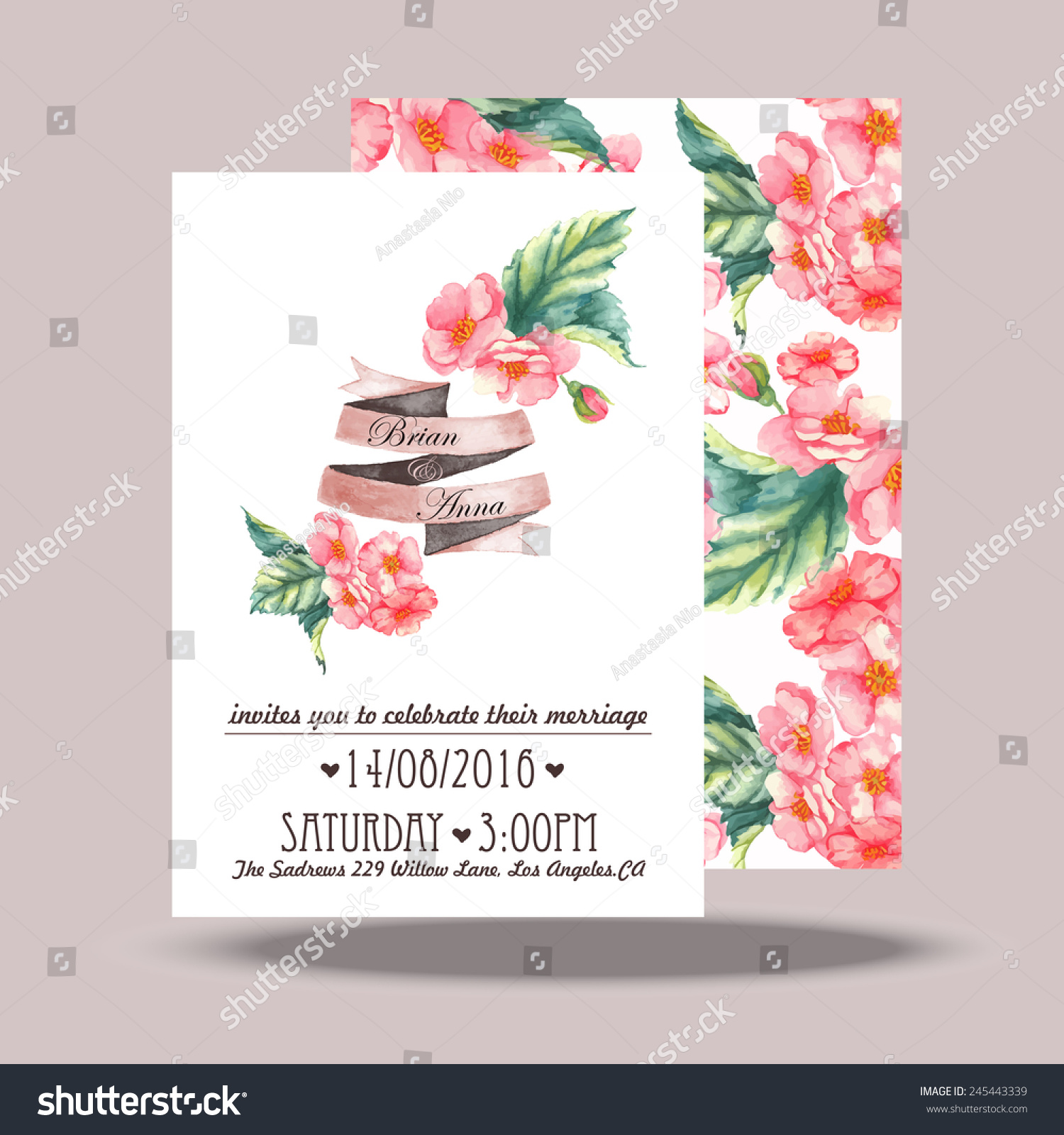 Wedding invitation card template hand drawn em vetor stock 245443339 wedding invitation card template hand drawn watercolor design with tender pink flowers and leaves stopboris Images