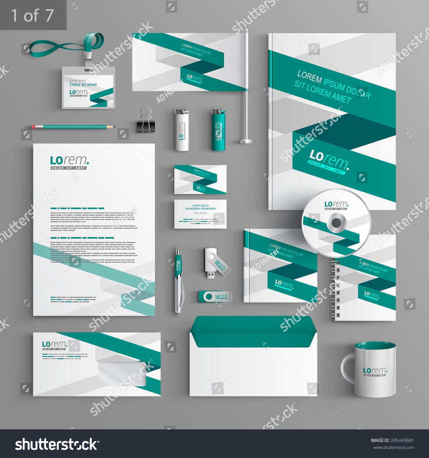 Corporate Stationery: White Corporate Identity Template Design Green Stock