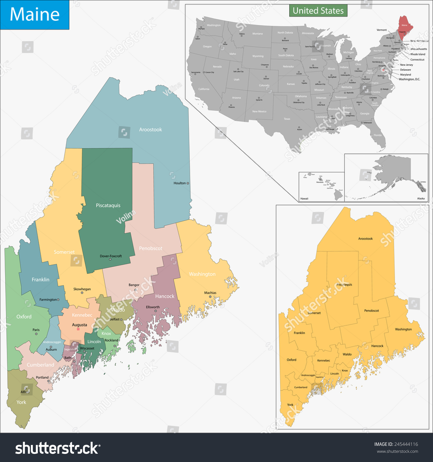 Map Maine State Designed Illustration Counties Stock Illustration ...