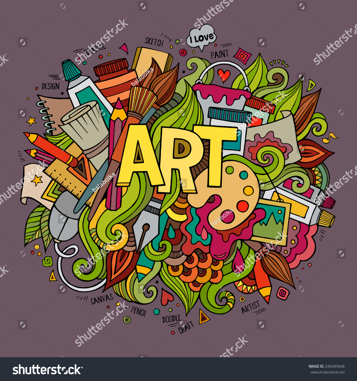 Stock vector music hand lettering and doodles elements - Art Hand Lettering And Doodles Elements Vector Illustration