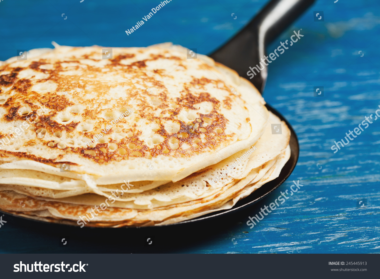 Staple of yeast pancakes traditional for Russian pancake week