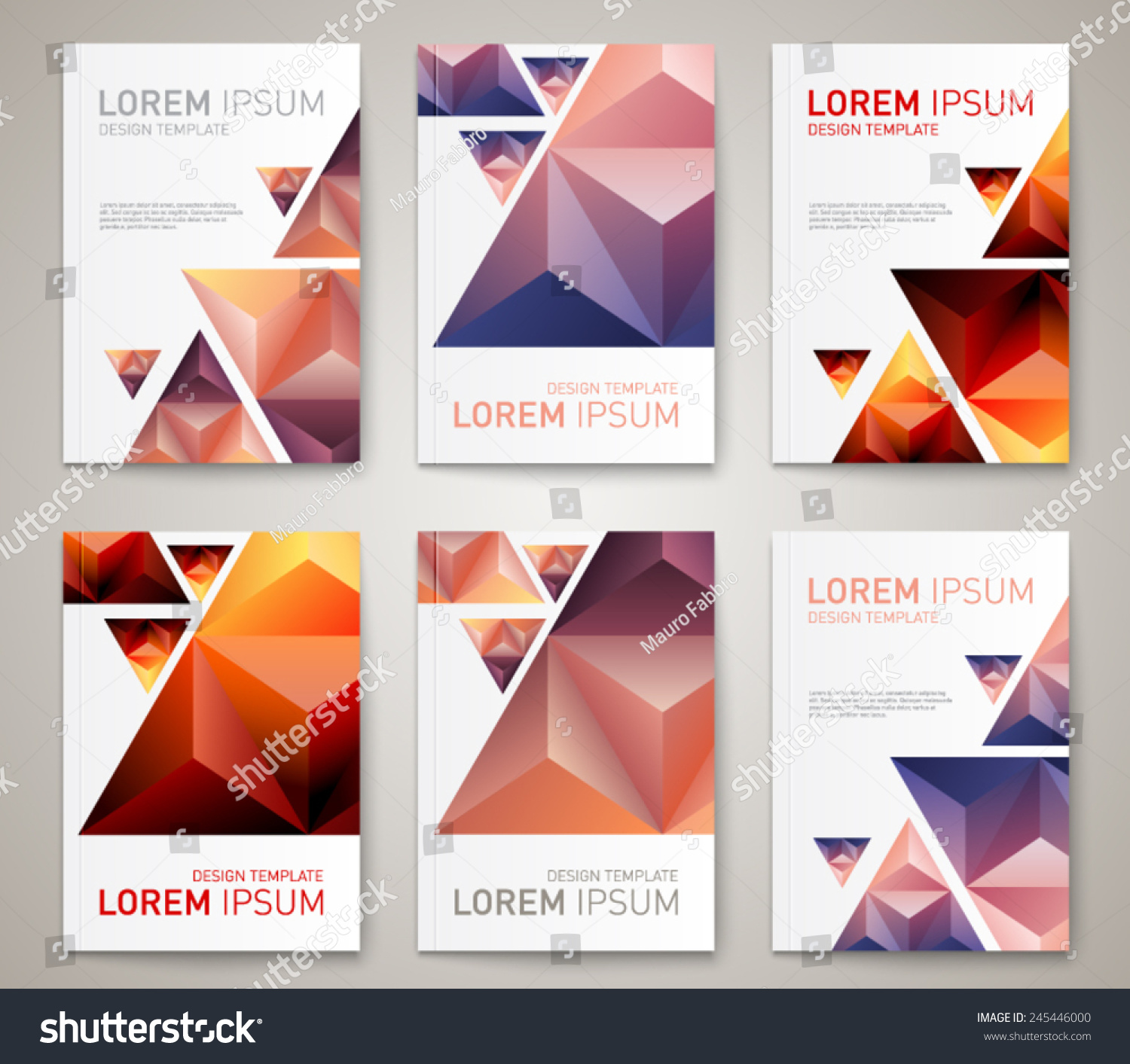 set modern abstract brochure flyer report stock vector  set of modern abstract brochure flyer report design layout template clean style