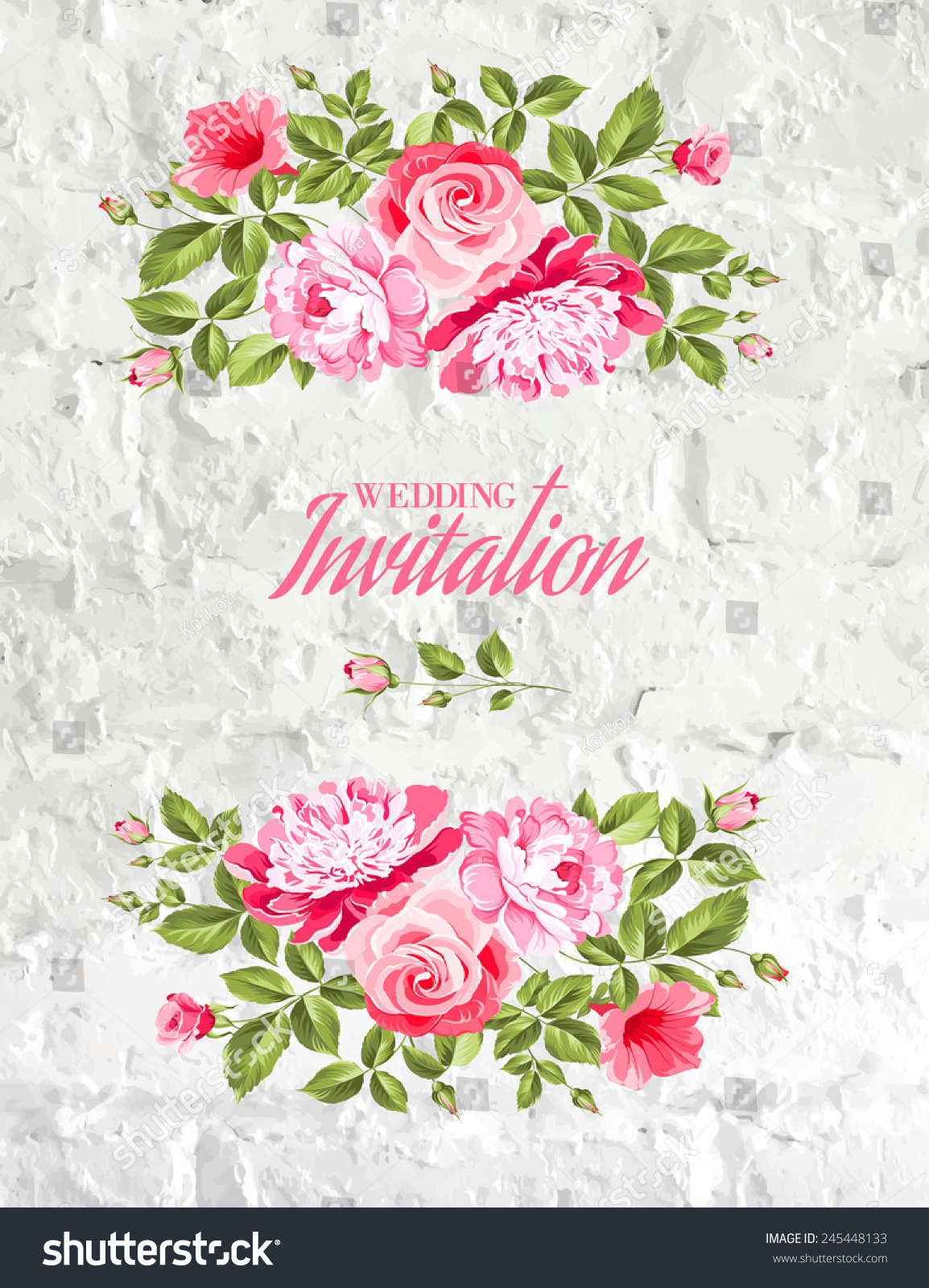 Invitation List Rose Flowers Wall Texture Stock Vector Royalty Free
