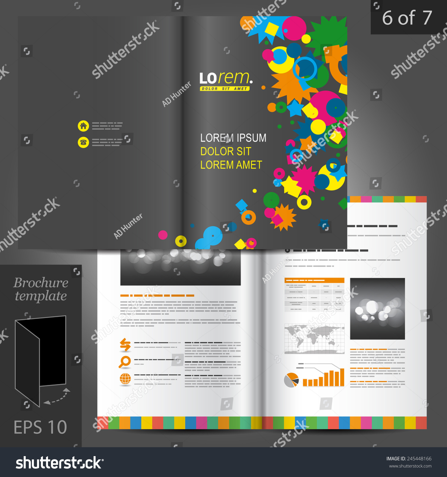 Creative Black Brochure Template Design Color Stock Vector Royalty