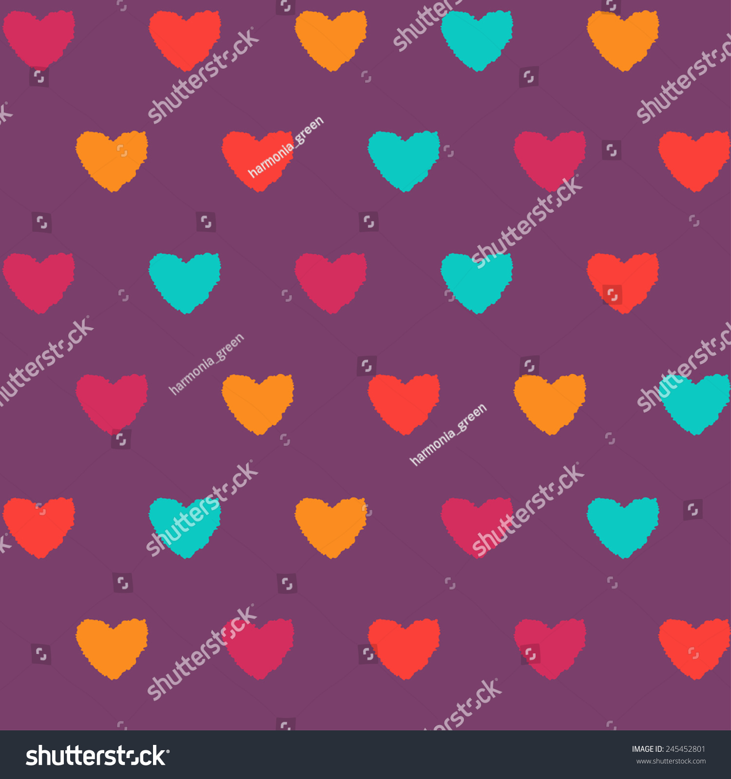 Vector Seamless Pattern Sloppy Colorful Hearts Stock Vector