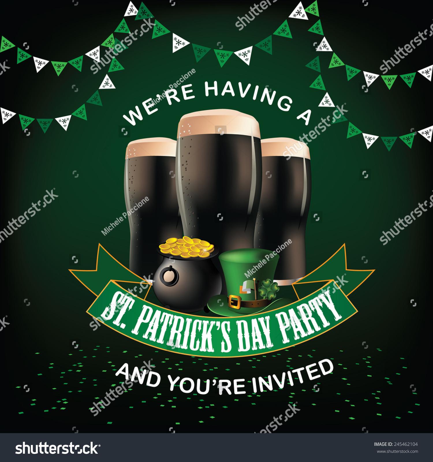 St Patricks Day Party Invitation Design Stock Vector 245462104 ...