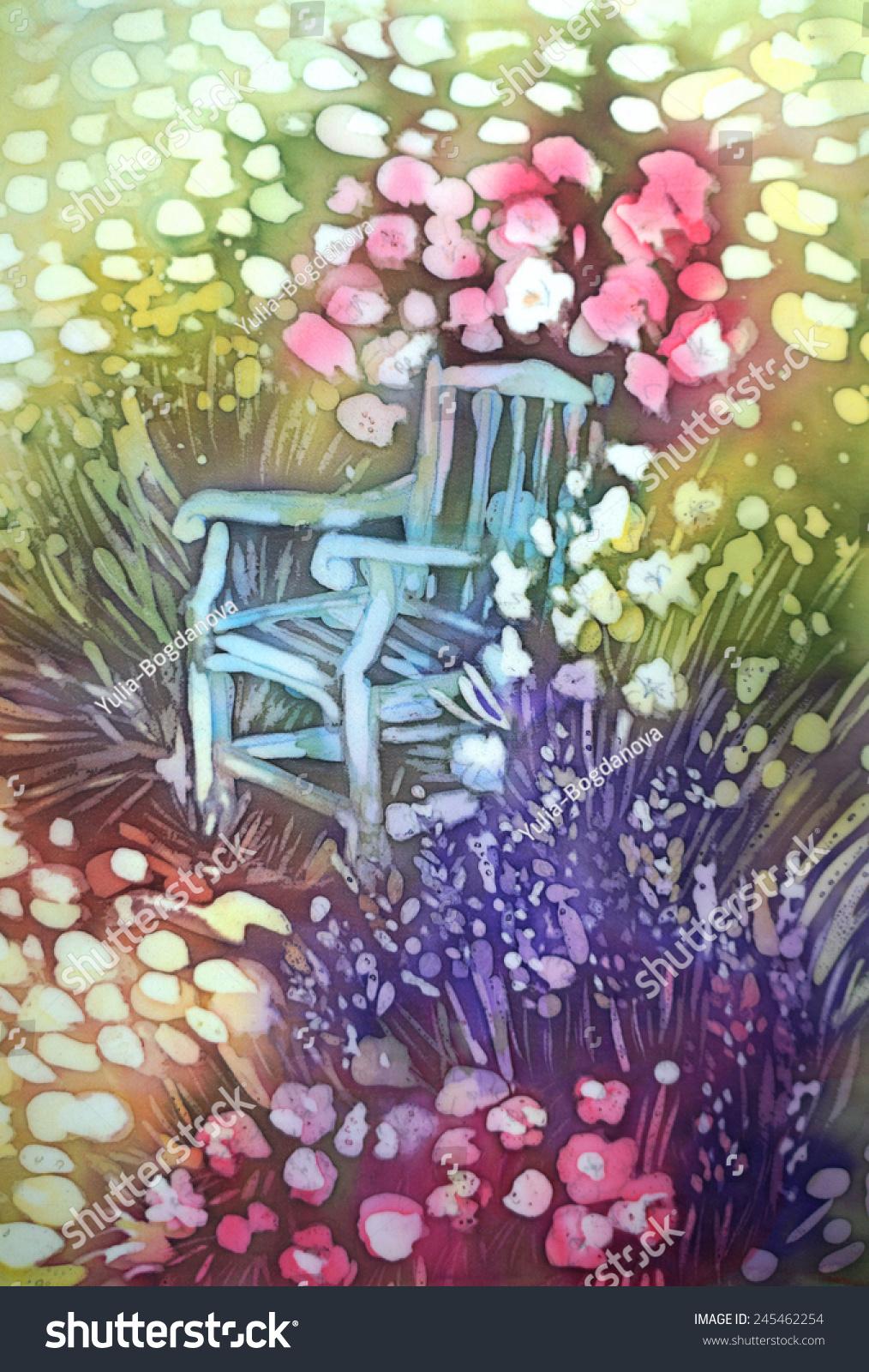 Chair Flowers Garden Original Modern Batik Stock Illustration