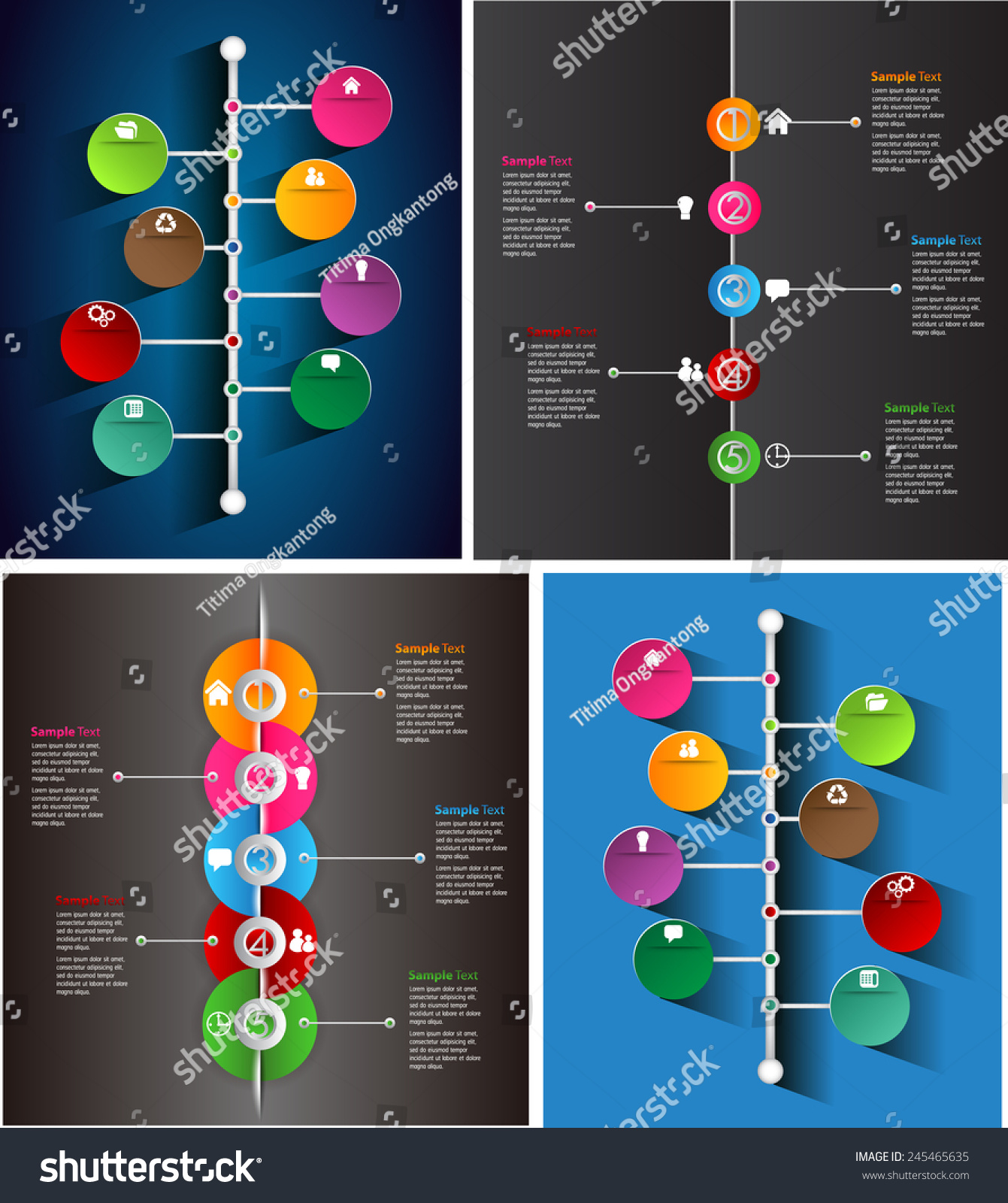 Colorful Modern Time Line Text Box Stock Vector Royalty Free