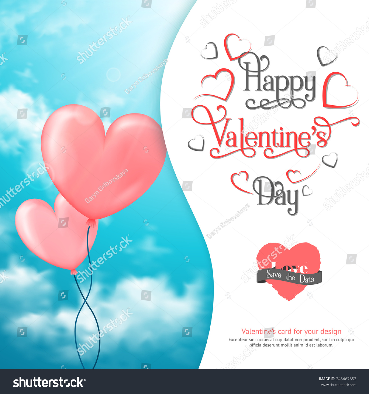 valentines card heartshaped balloons sky clouds stock vector