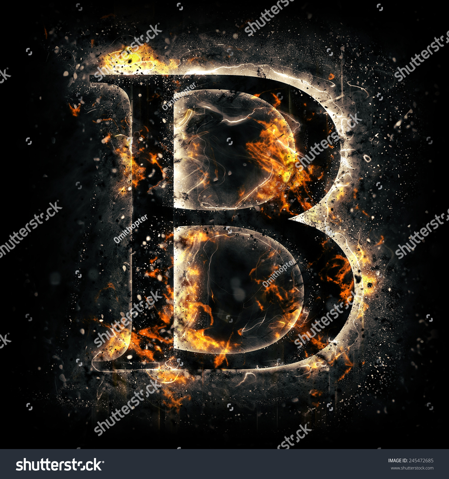 Fire Alphabet Letter B Stock Illustration 245472685 ... Letter B Fire