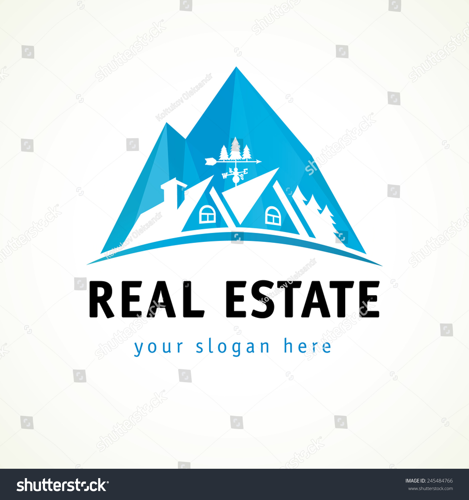 Houses In Mountains Vector Stained Glass Logo Real Estate Hotel Cottages Sign