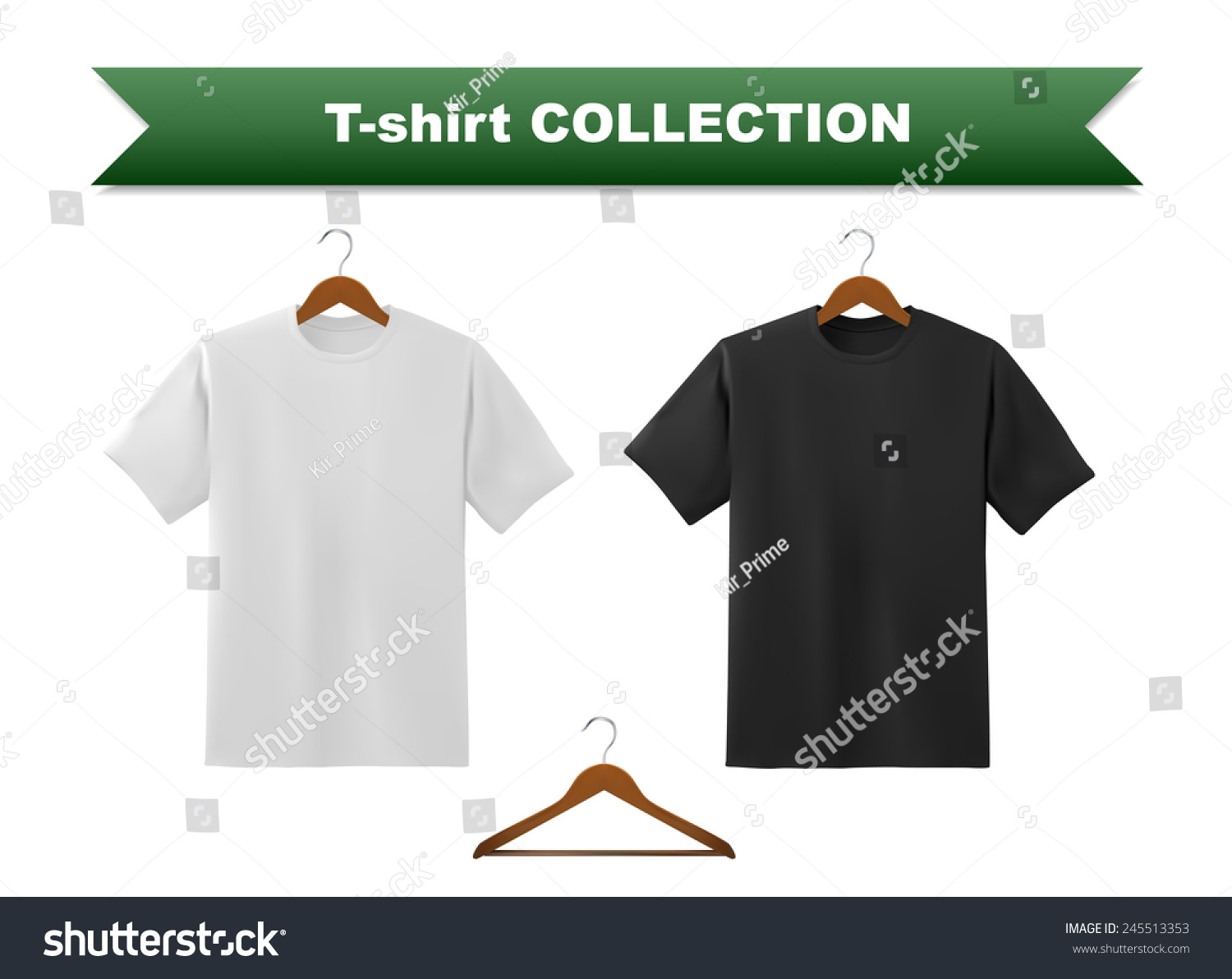Black t shirt template - White And Black T Shirt Template With Hanger Vector Eps10 Illustration