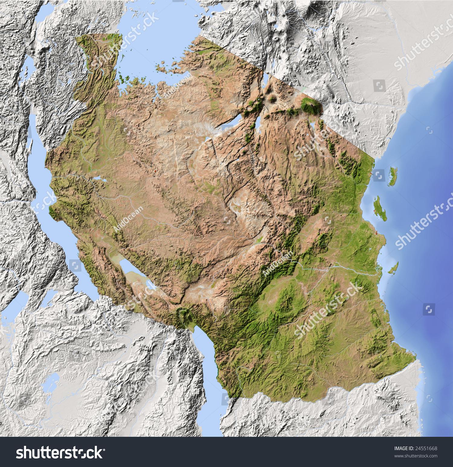 Tanzania Shaded Relief Map Surrounding Territory Stock
