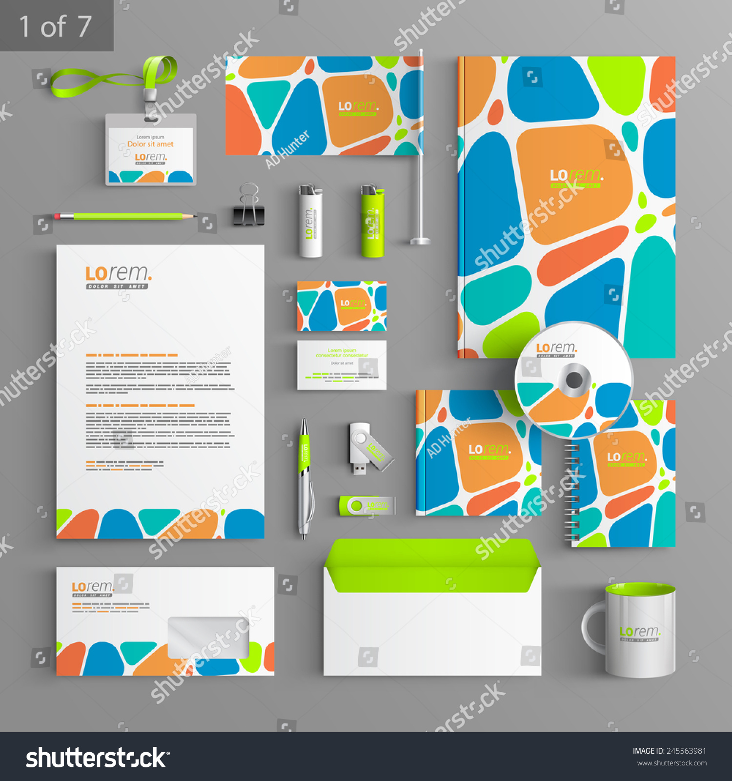 Blank Stationery And Corporate Identity Template Consist: Creative Corporate Identity Template Design Color Stock