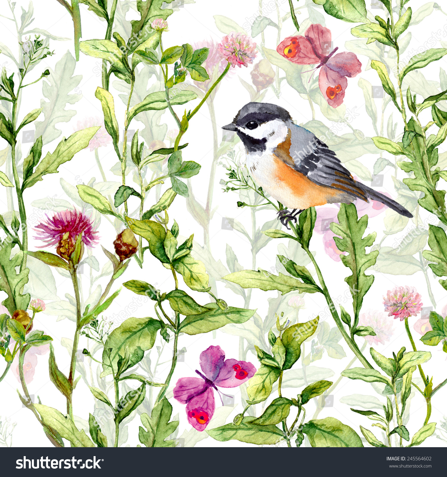 Small Bird In Spring Wild Herbs And Meadow Flowers With