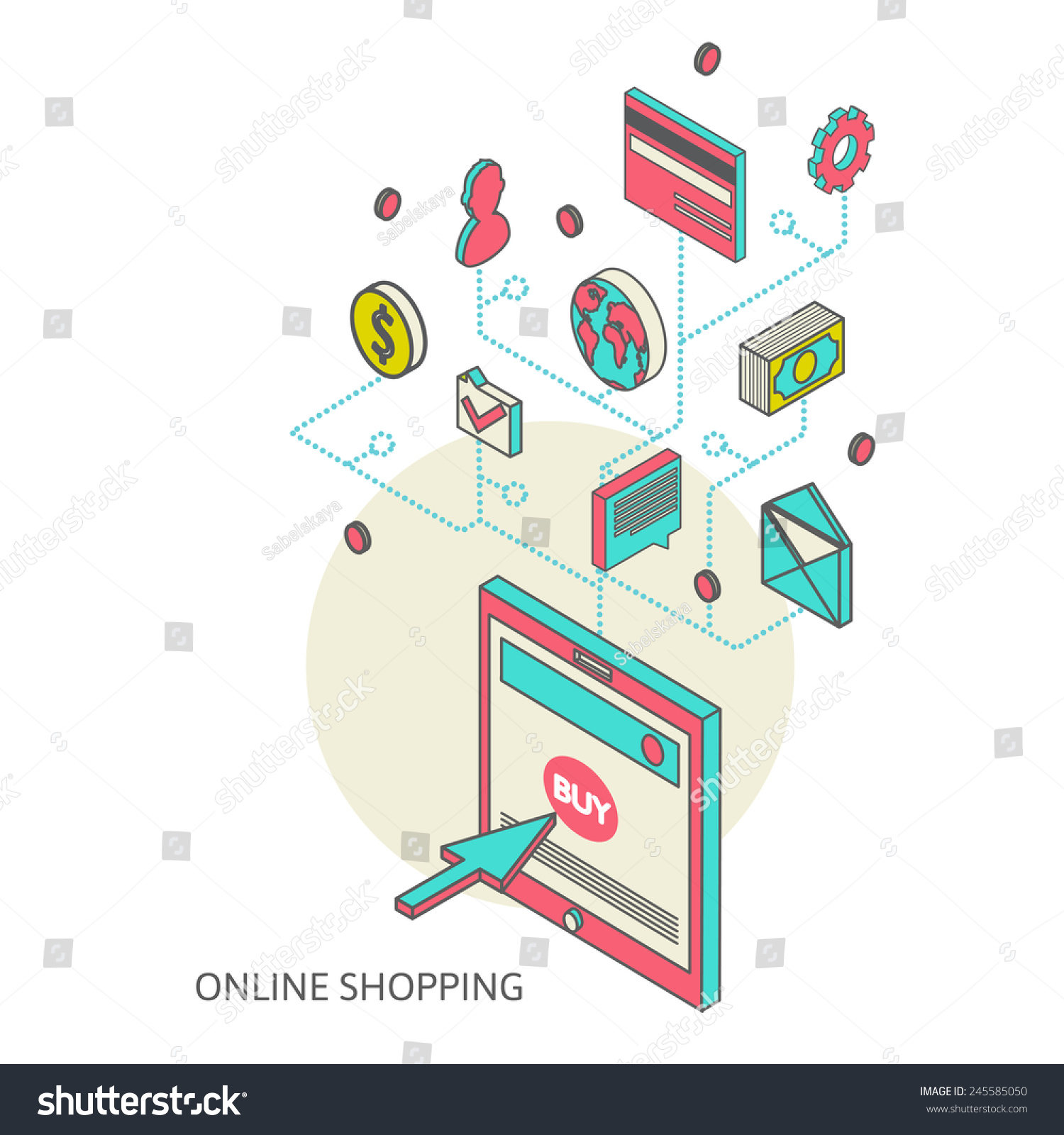 Flat 3d isometric art modern design stock vector 245585050 for 3d flat design online