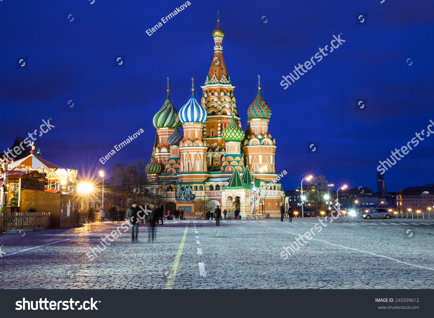 Saint Basils Cathedral At Night National Symbol Of Russia Red