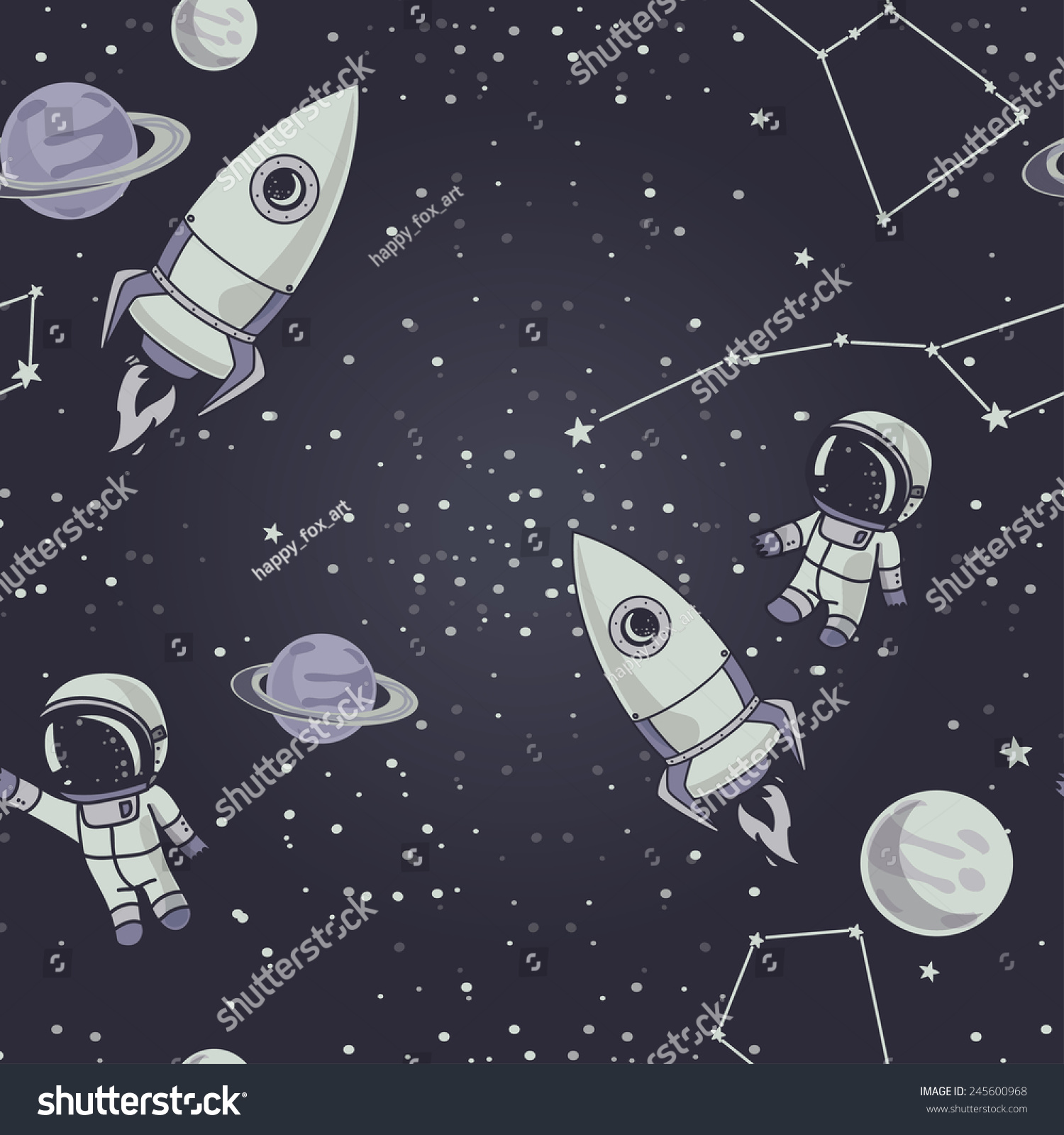 seamless background with cute doodle astronauts planets