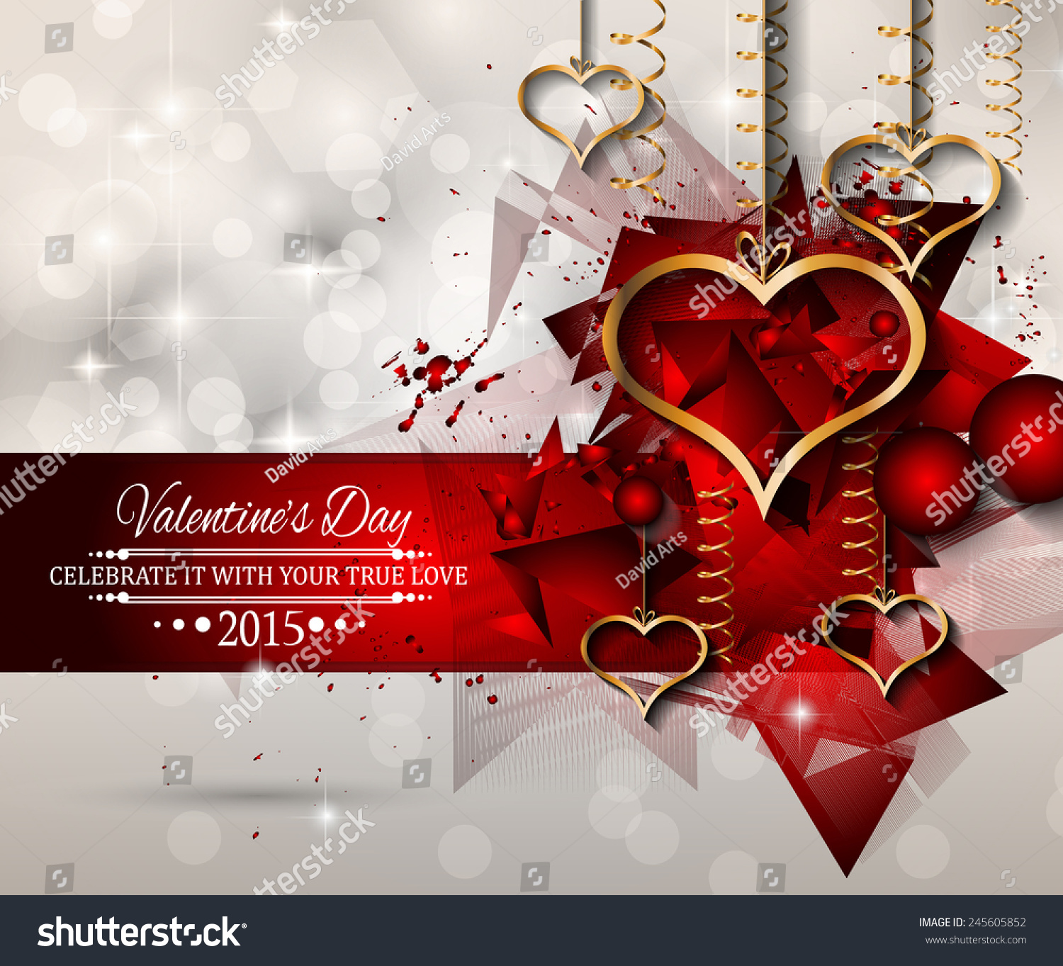 San Valentines Day Background Dinner Invitations Stock Illustration