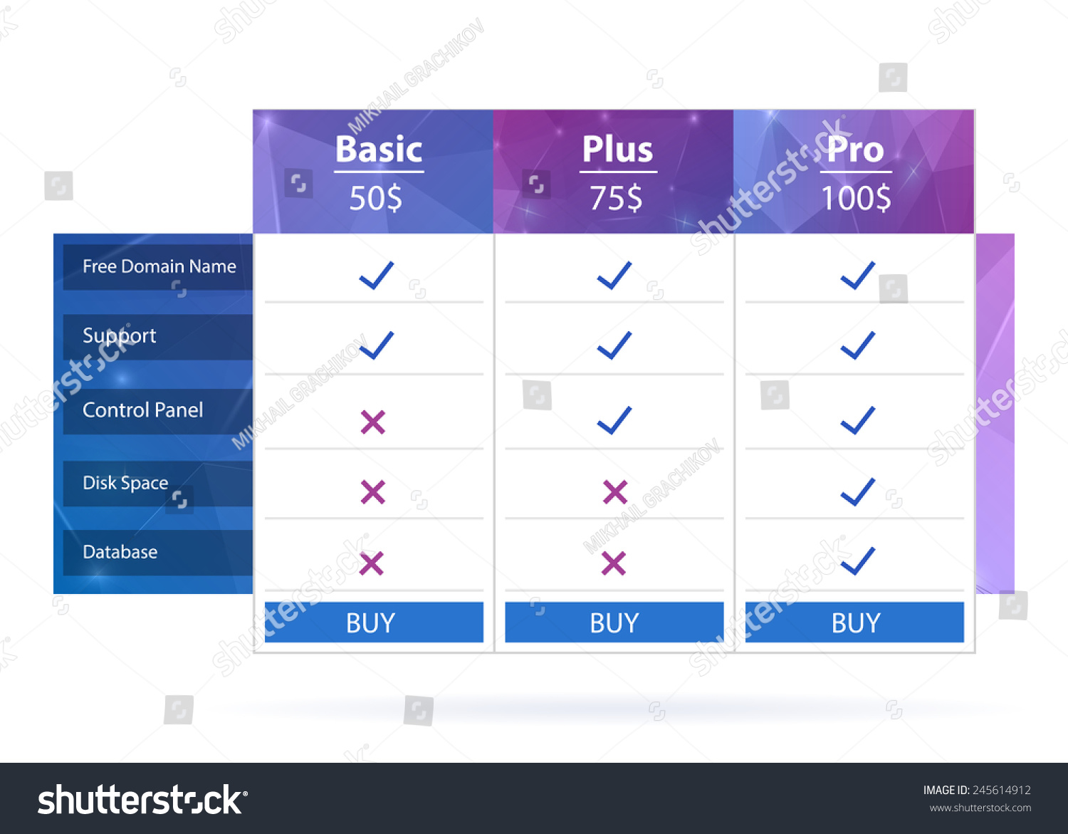 Abstract creative concept vector pricing table stock for Table design template