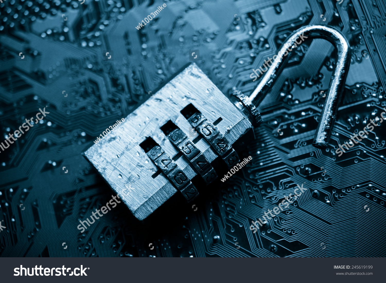 Broken Unlock Security Lock On Computer Circuit Board