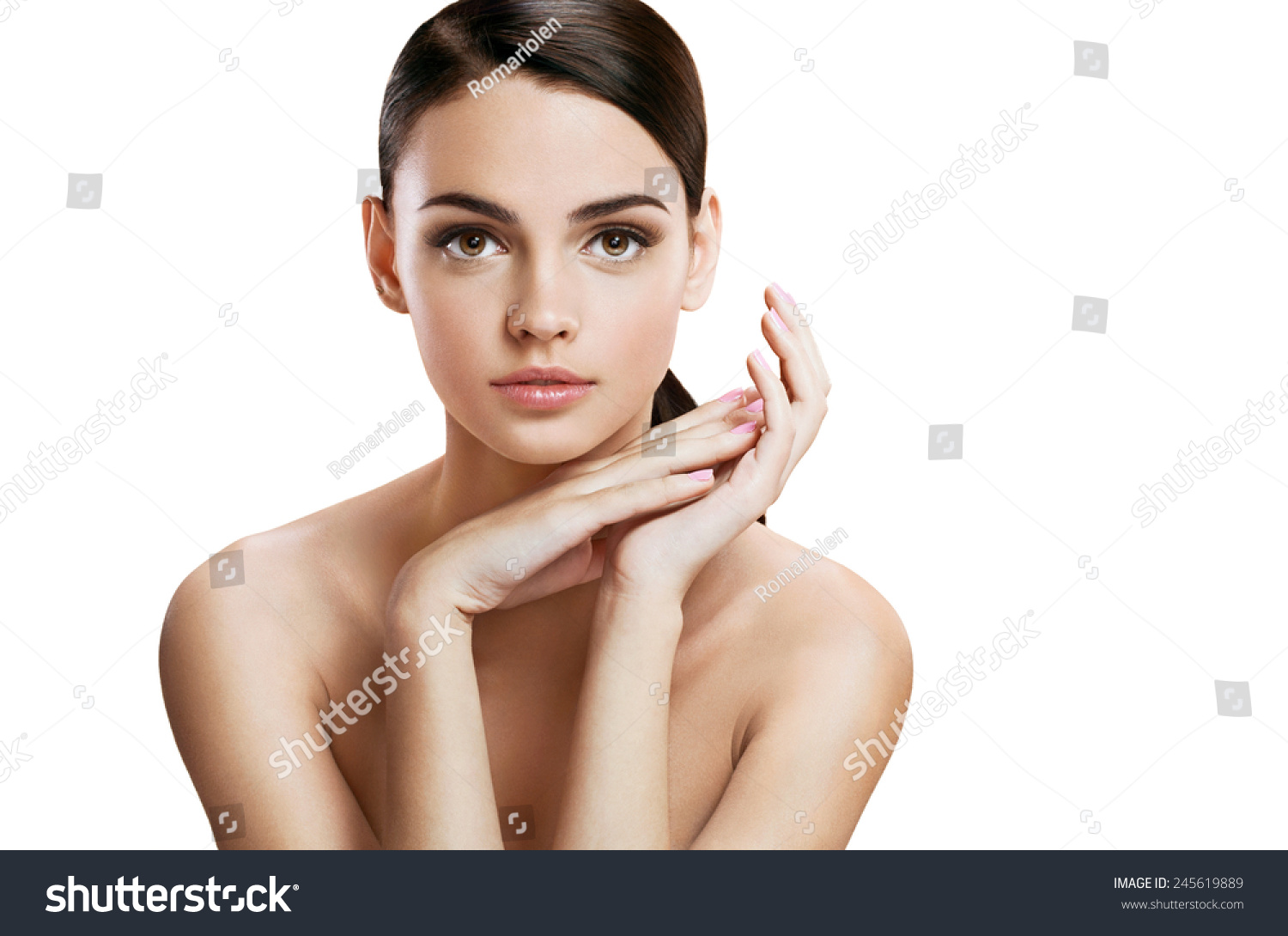 Charming young woman with perfect makeup skin care concept photo composition of brunette girl - Charming teenage girls image ...