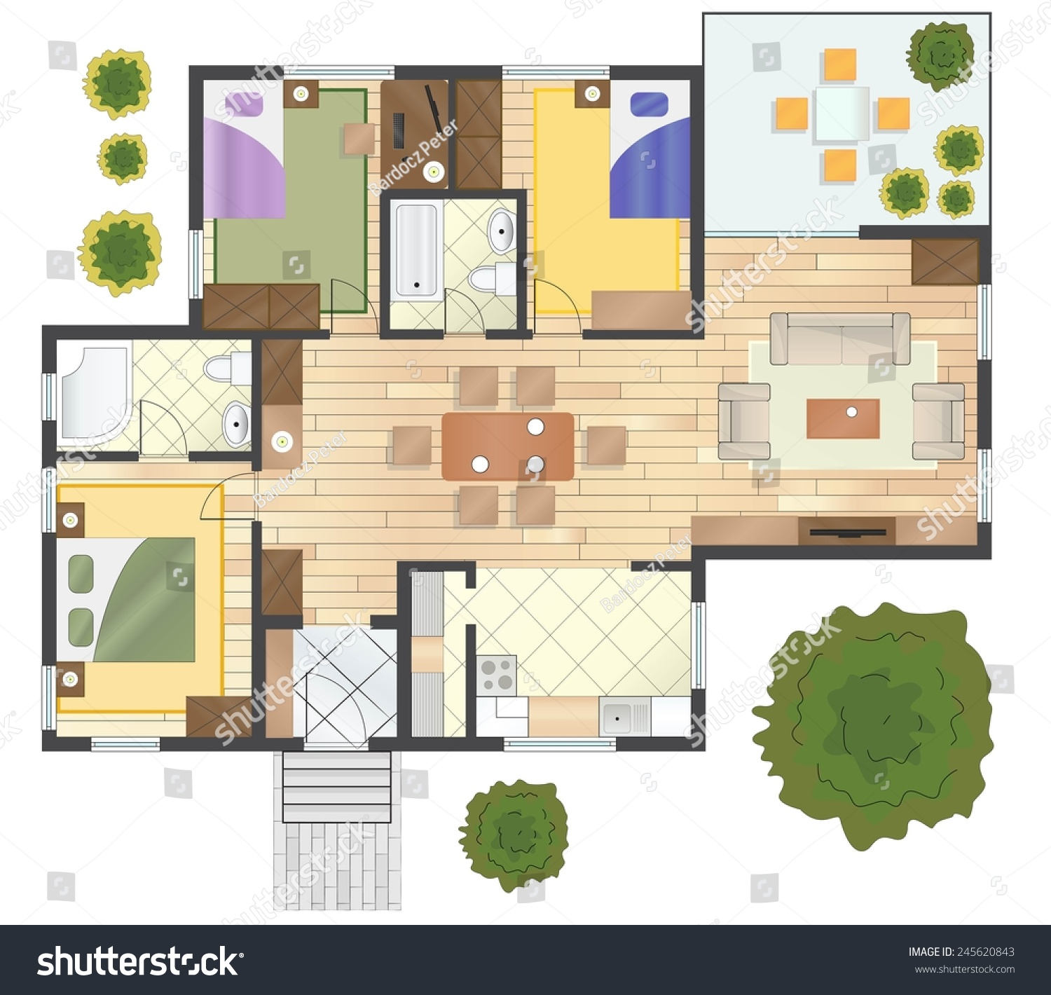 Colorful floor plan of a house stock vector illustration 245620843 shutterstock - Colorful house plans ...