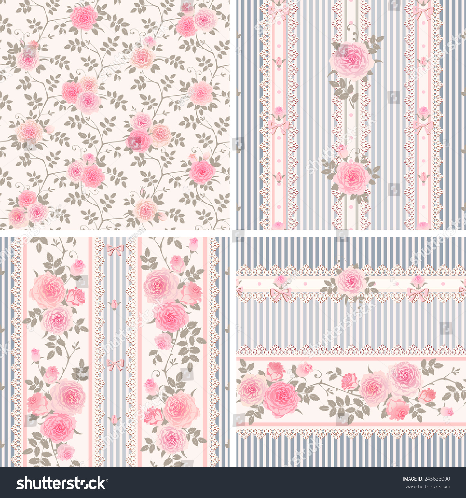 Seamless Floral Backgrounds And Borders Set Of Shabby Chic Style Patterns With Pink Roses