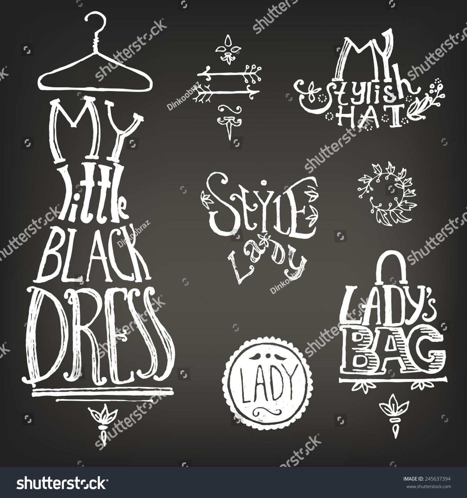 typographic composition chalk on blackboard little stock vector