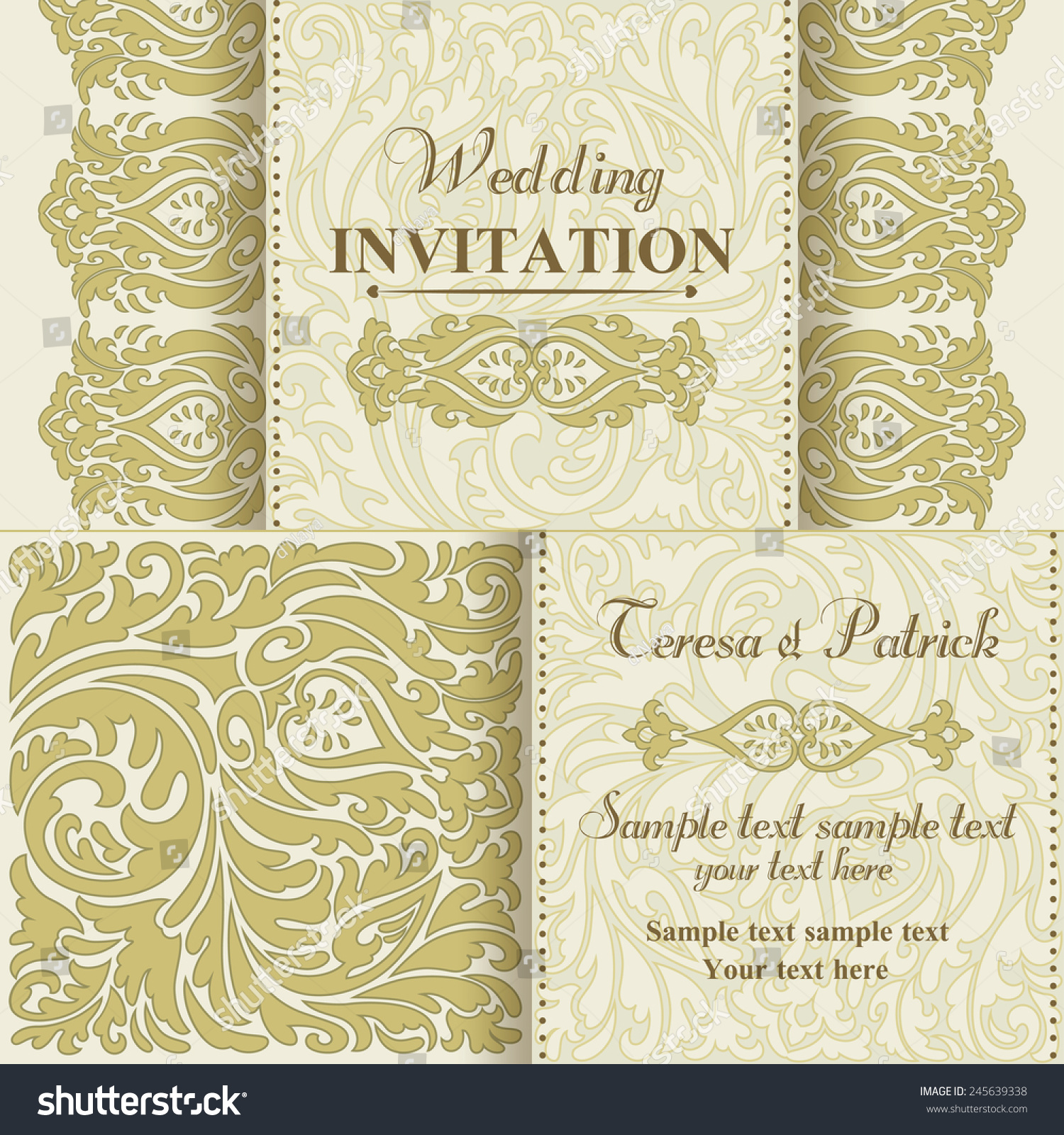 Baroque Wedding Invitation Card Oldfashioned Style Stock Vector ...