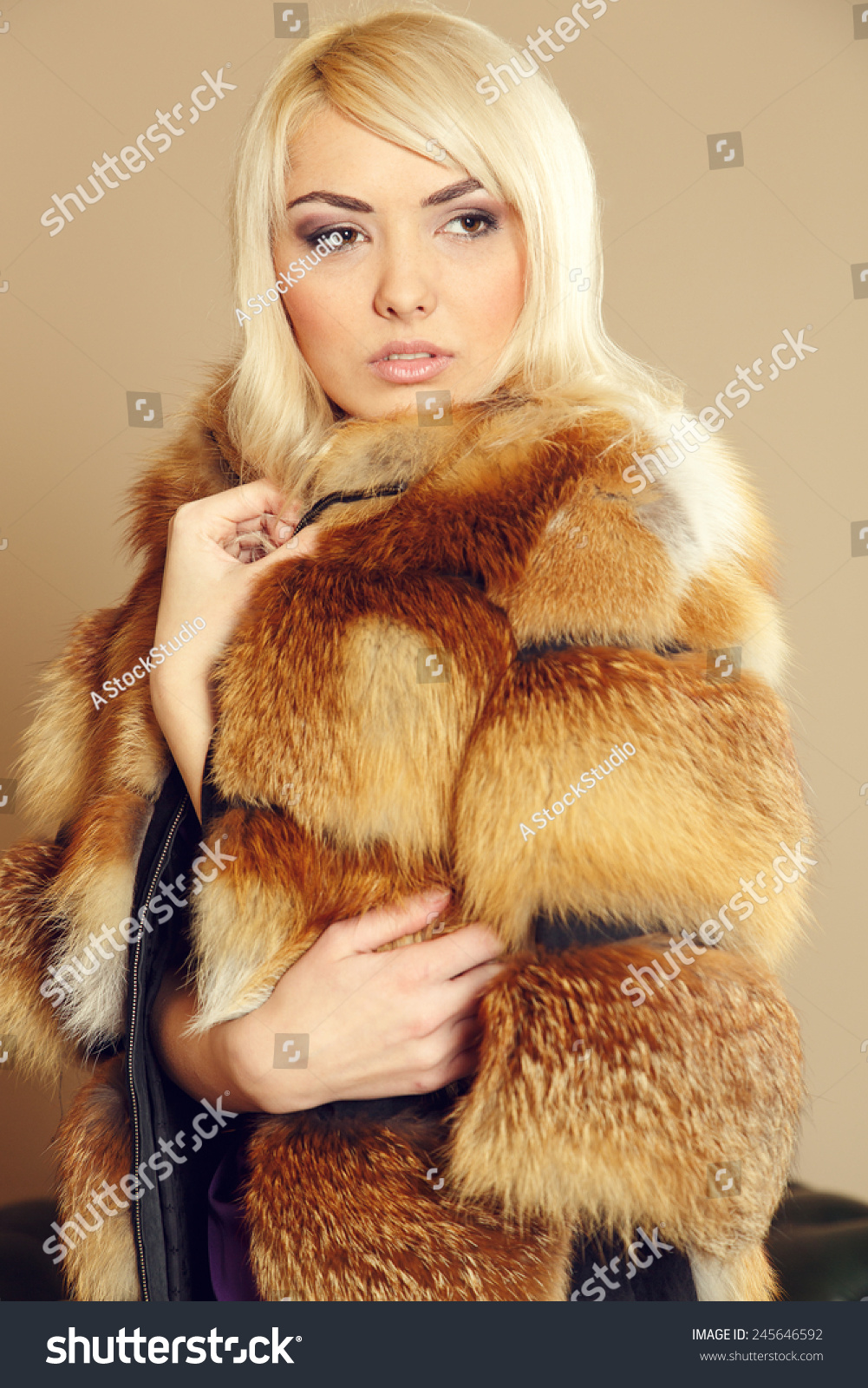 Blonde Woman Wearing Fur Coat Coat Stock Photo 245646592 ...
